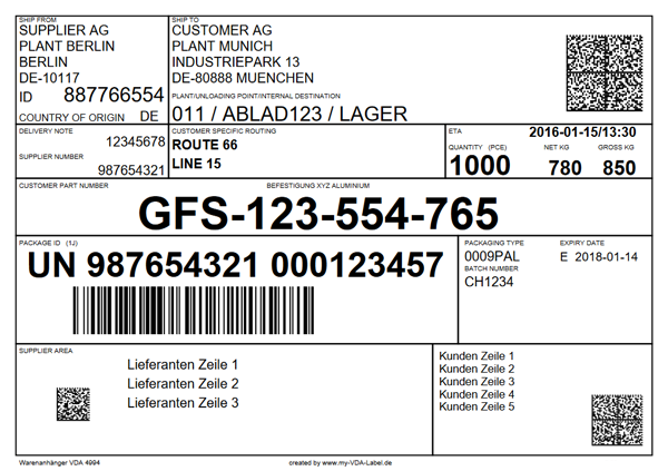 Example: VDA 4994 GTL label with datamatrix code