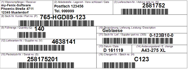 Example of VDA 4902 label - Label for small load carriers  (74 x 210 mm)