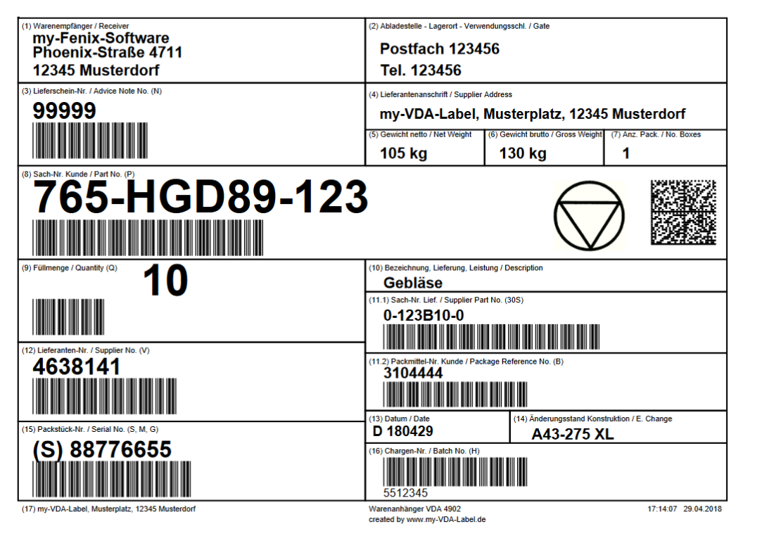 Print VDA 4902 Label with Data Matrix Code - 2D barcode