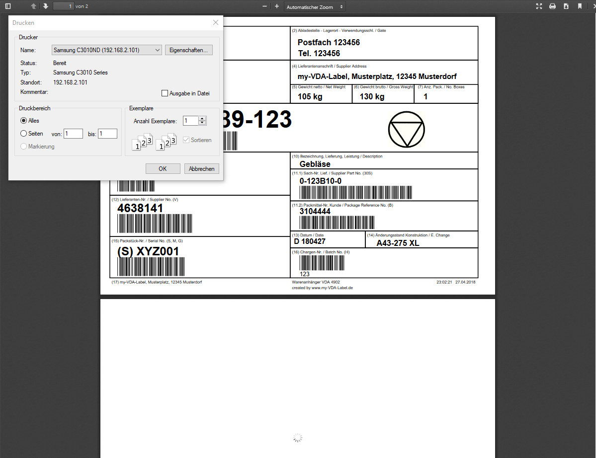 my-VDA-Label Pro - Print VDA-Label - The created PDF-file for printing or download