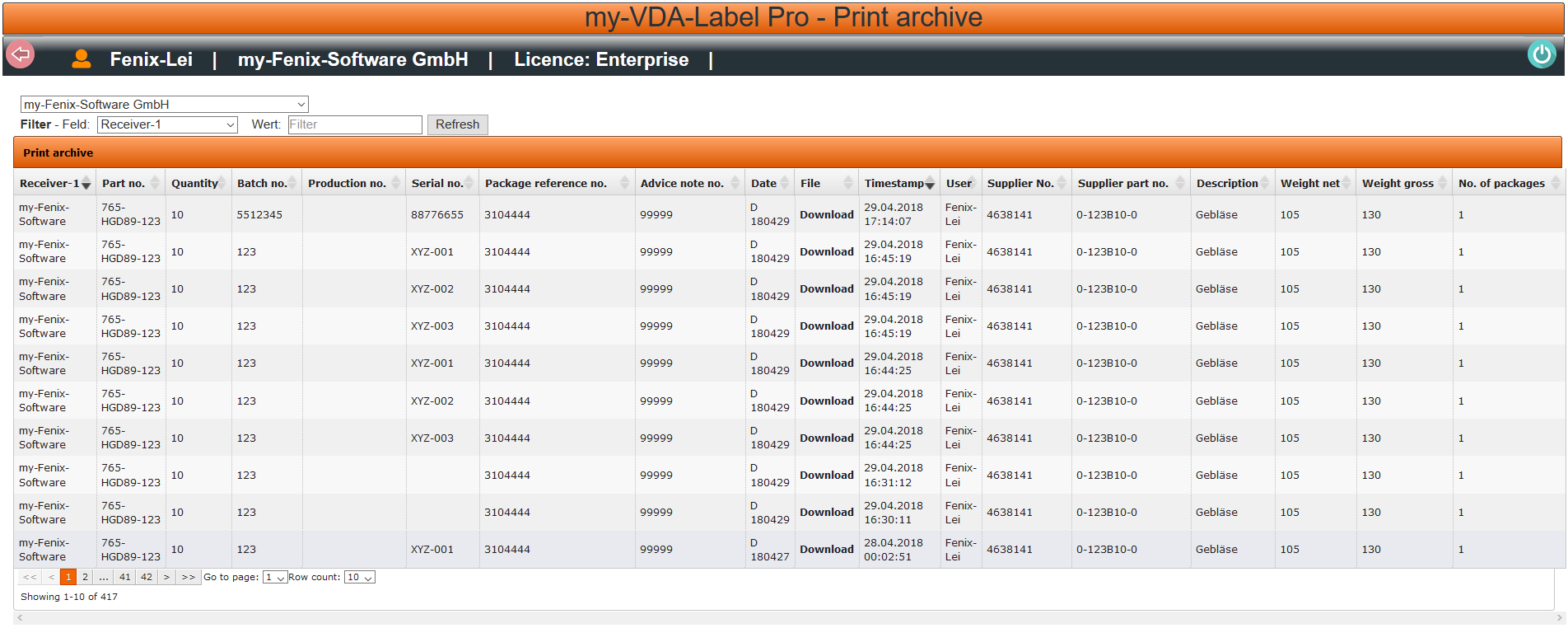 Print archive for VDA 4902 Label